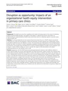 How the intervention impacted the clinics, and the key role of 'positive disruption'