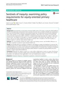Policy requirements for equity-oriented primary healthcare
